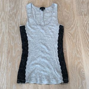Express Gray Tabk Top with Black Lace Detailing